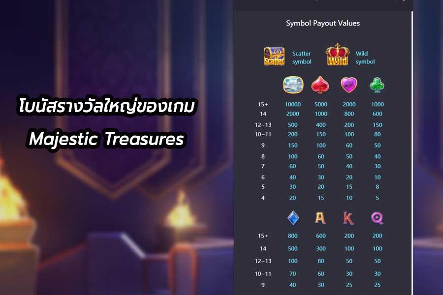 โบนัสรางวัลใหญ่ของเกม Majestic Treasures จากค่ายดัง PGSLOT